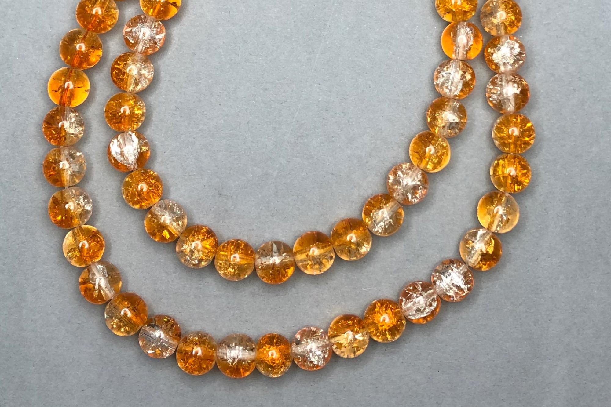 Orange/Clear Crackle Glass Beads