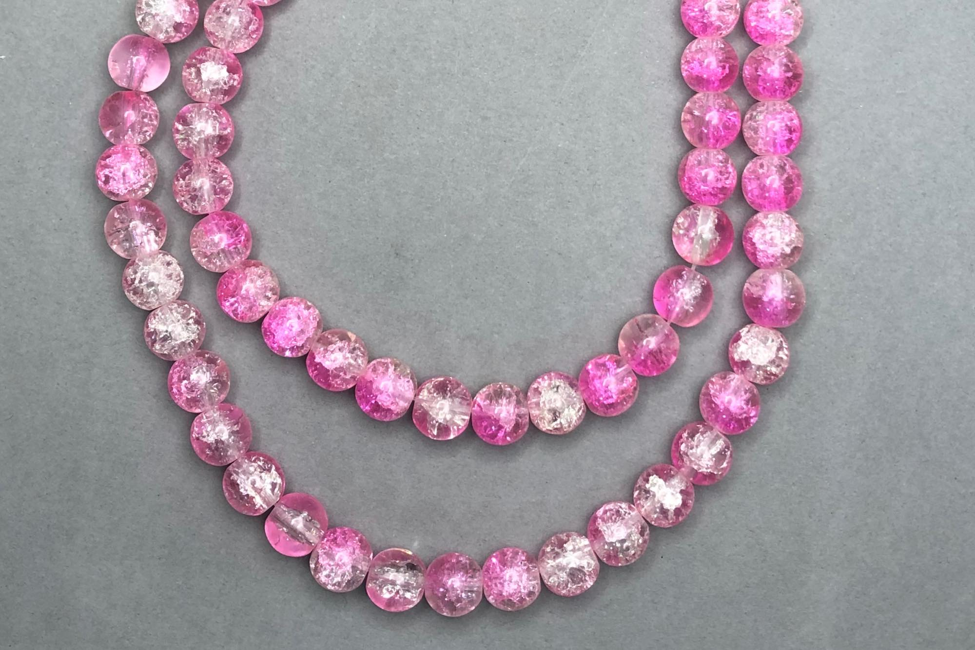 Pink/Clear Crackle Glass Beads