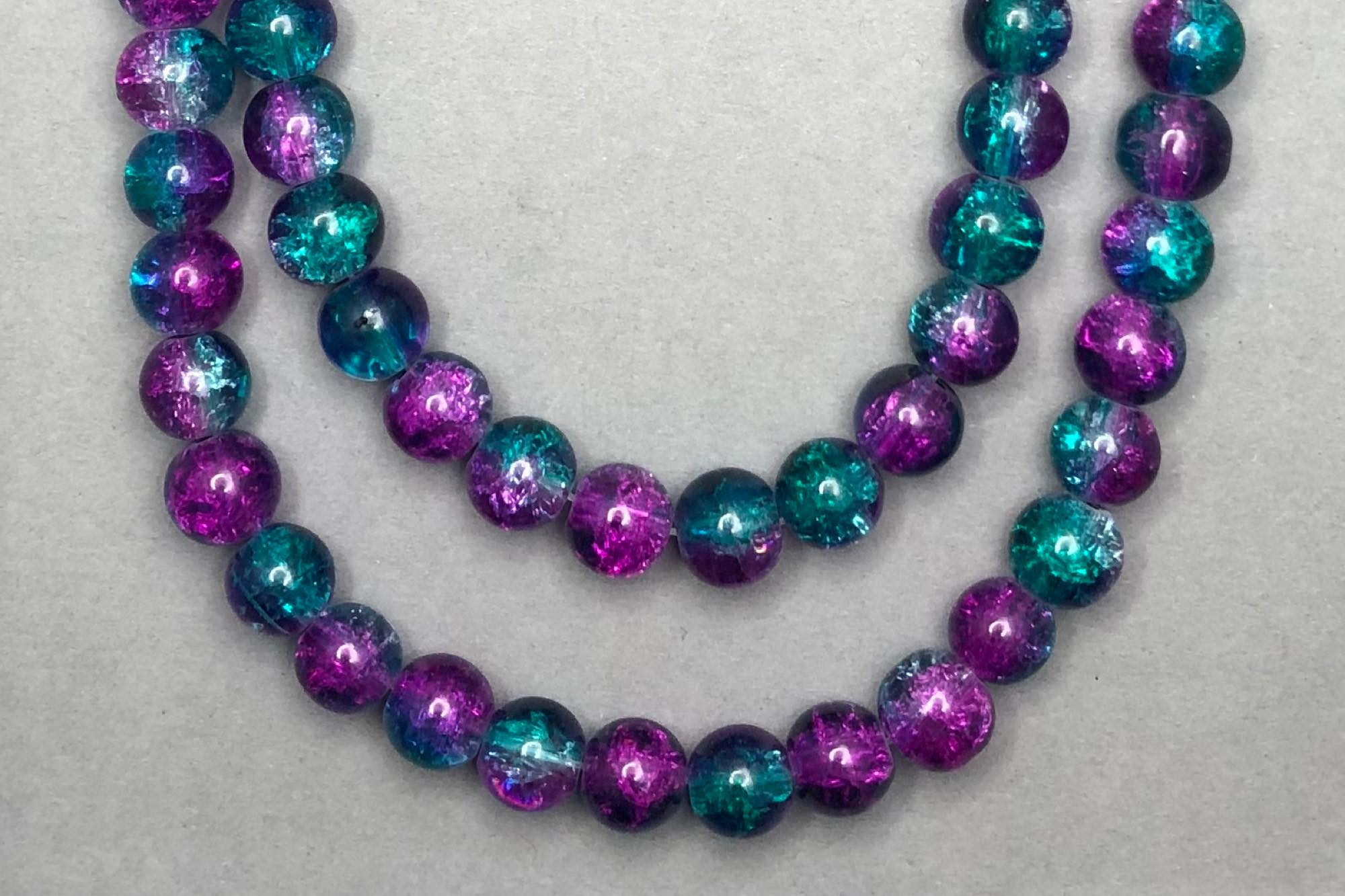 Teal/Magenta Crackle Glass Beads