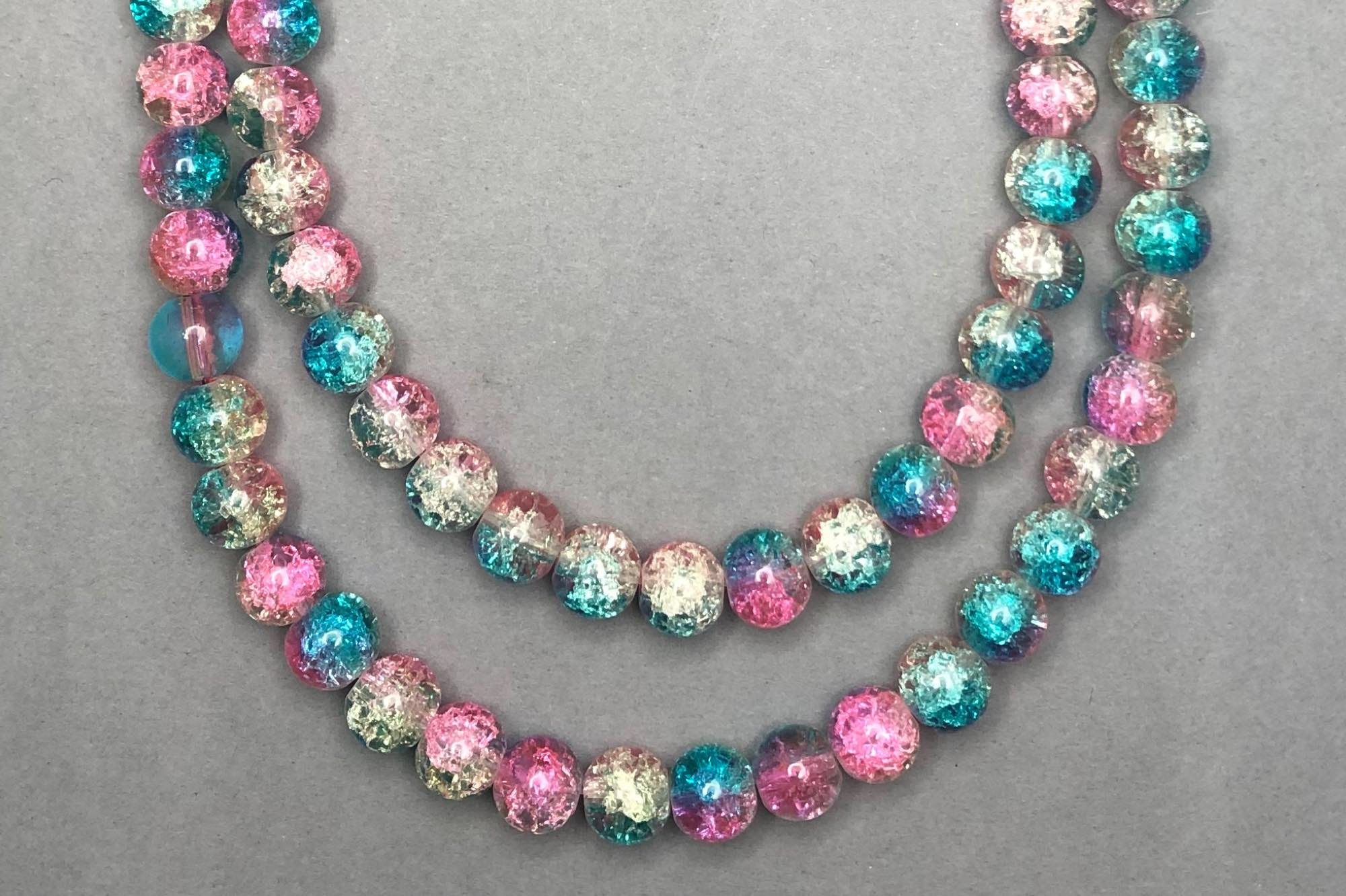Aqua/Pink/Clear Crackle Glass Beads