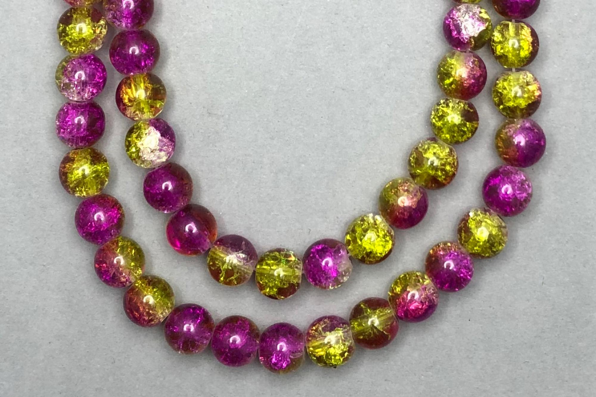 Lime/Magenta Crackle Glass Beads
