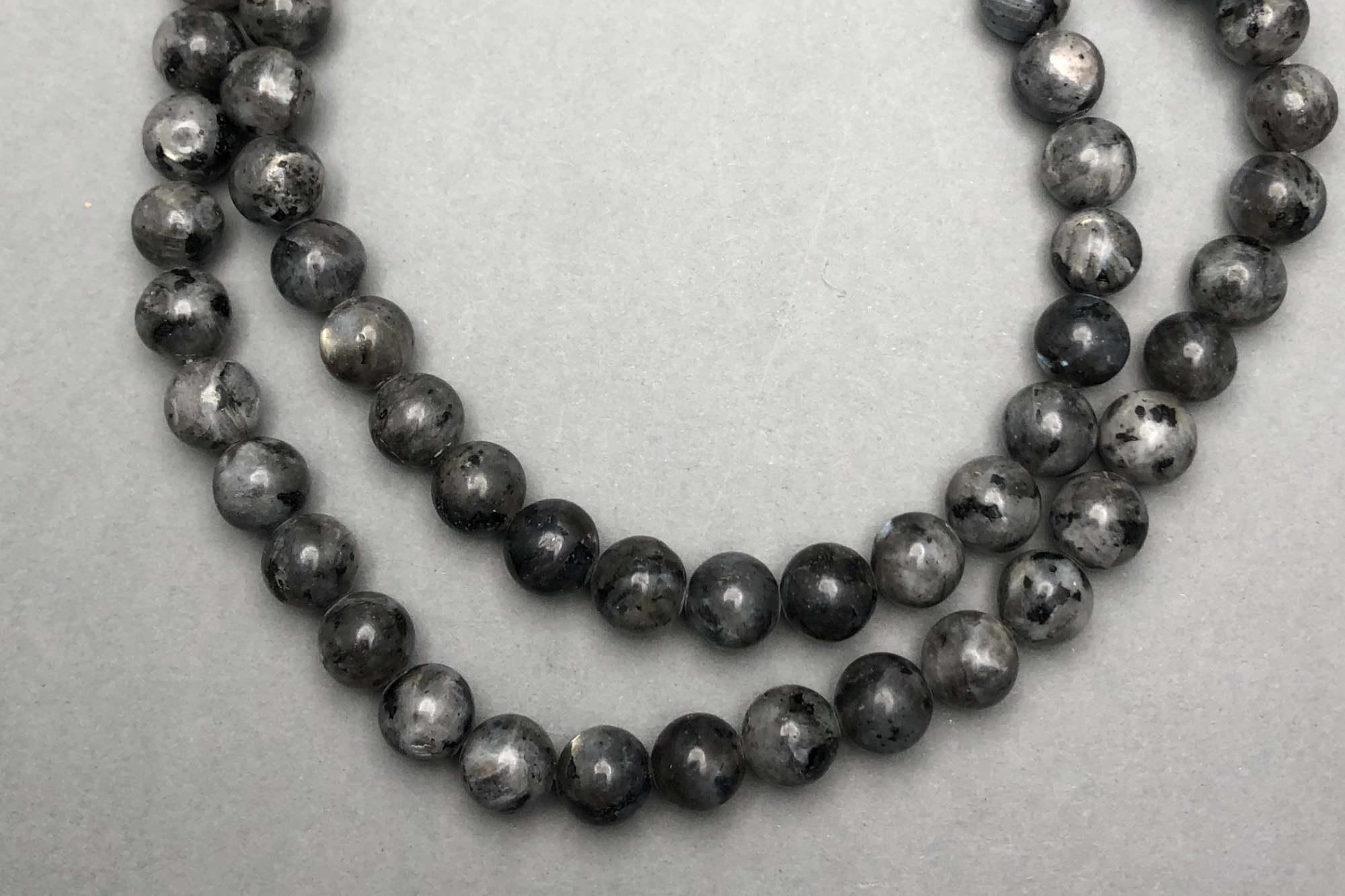 Grey Labradorite 38cm Strand, 8mm Round
