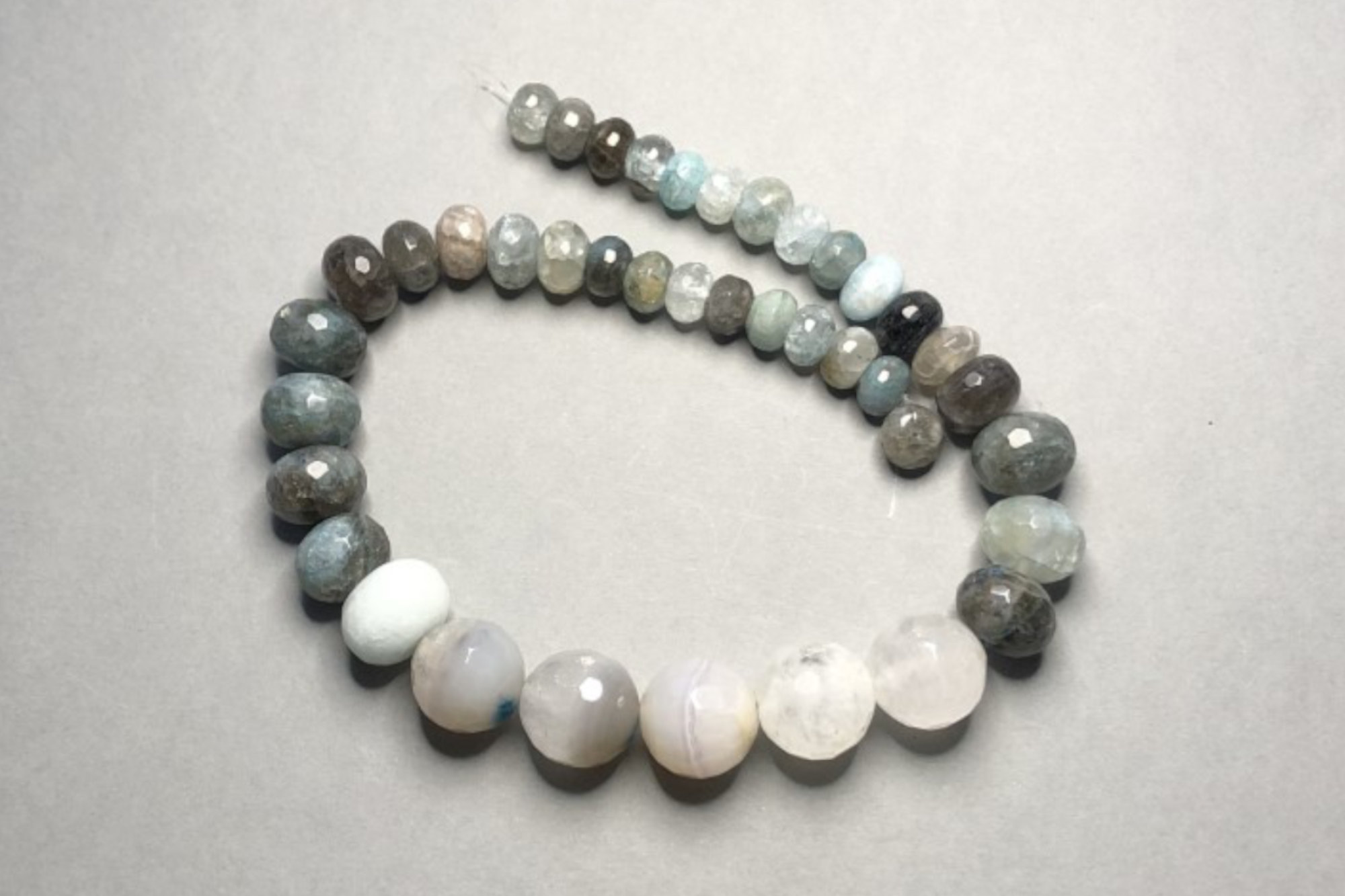 Teal & Grey Agate, 39cm Graduated Strand
