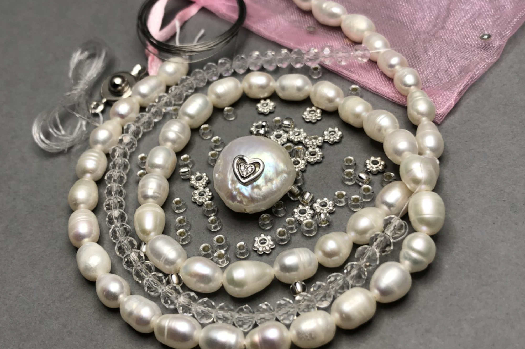 Freshwater Pearl Pendant Set, Silver Diamanté Heart