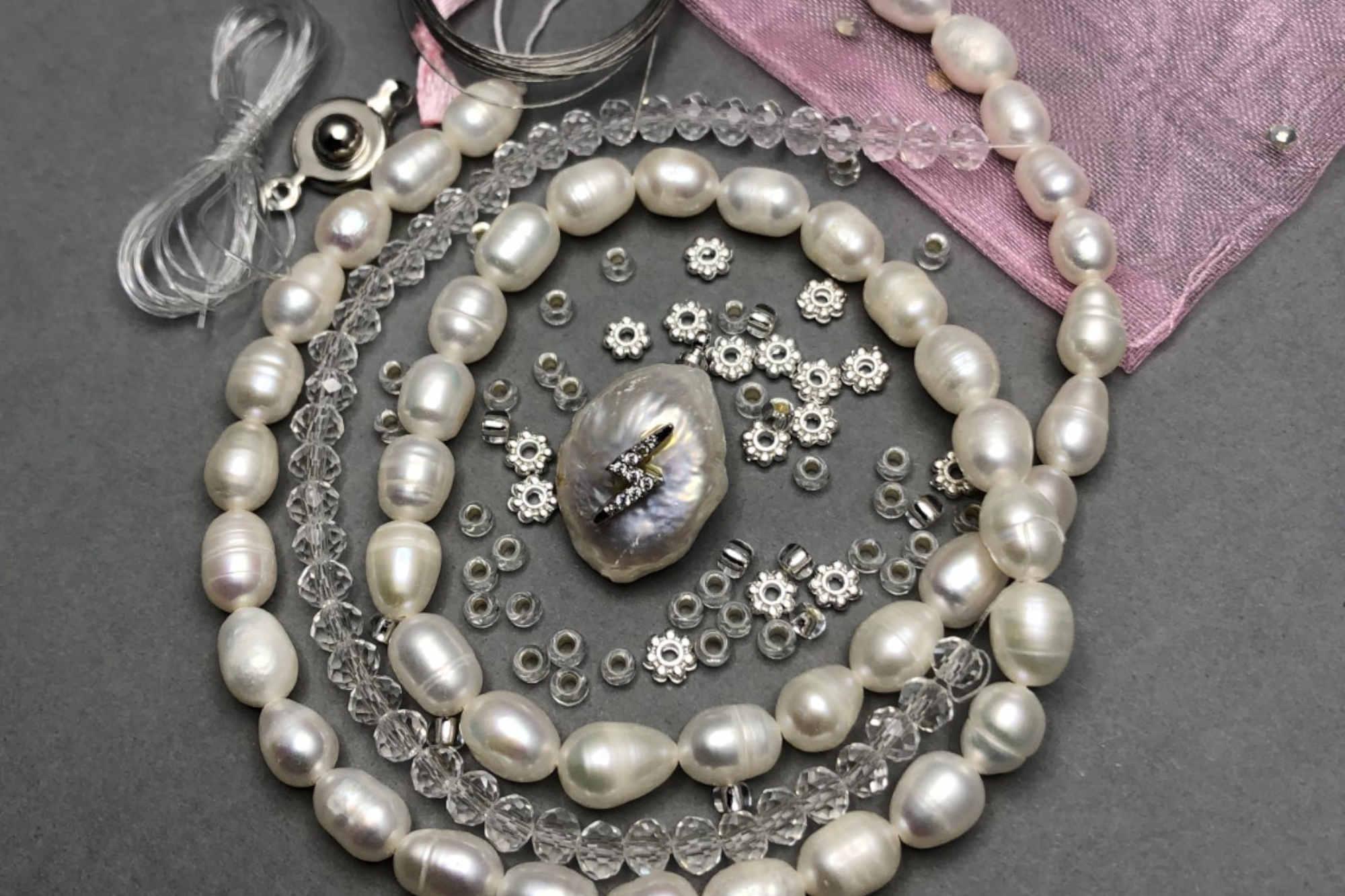 Freshwater Pearl Pendant Set, Silver Diamanté Lightning Bolt