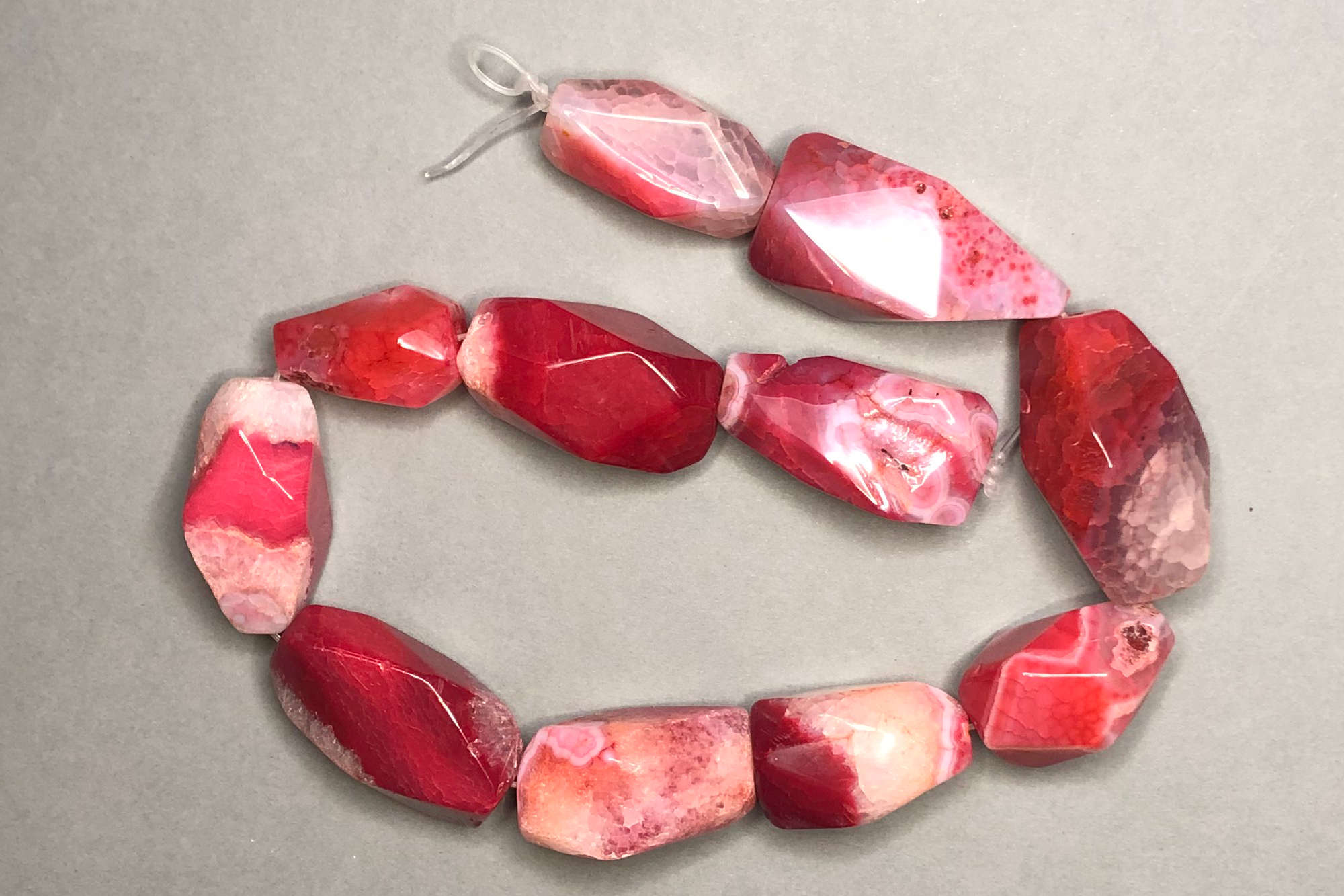 Chunky Shocking Pink Agate, 38cm Mixed Strand