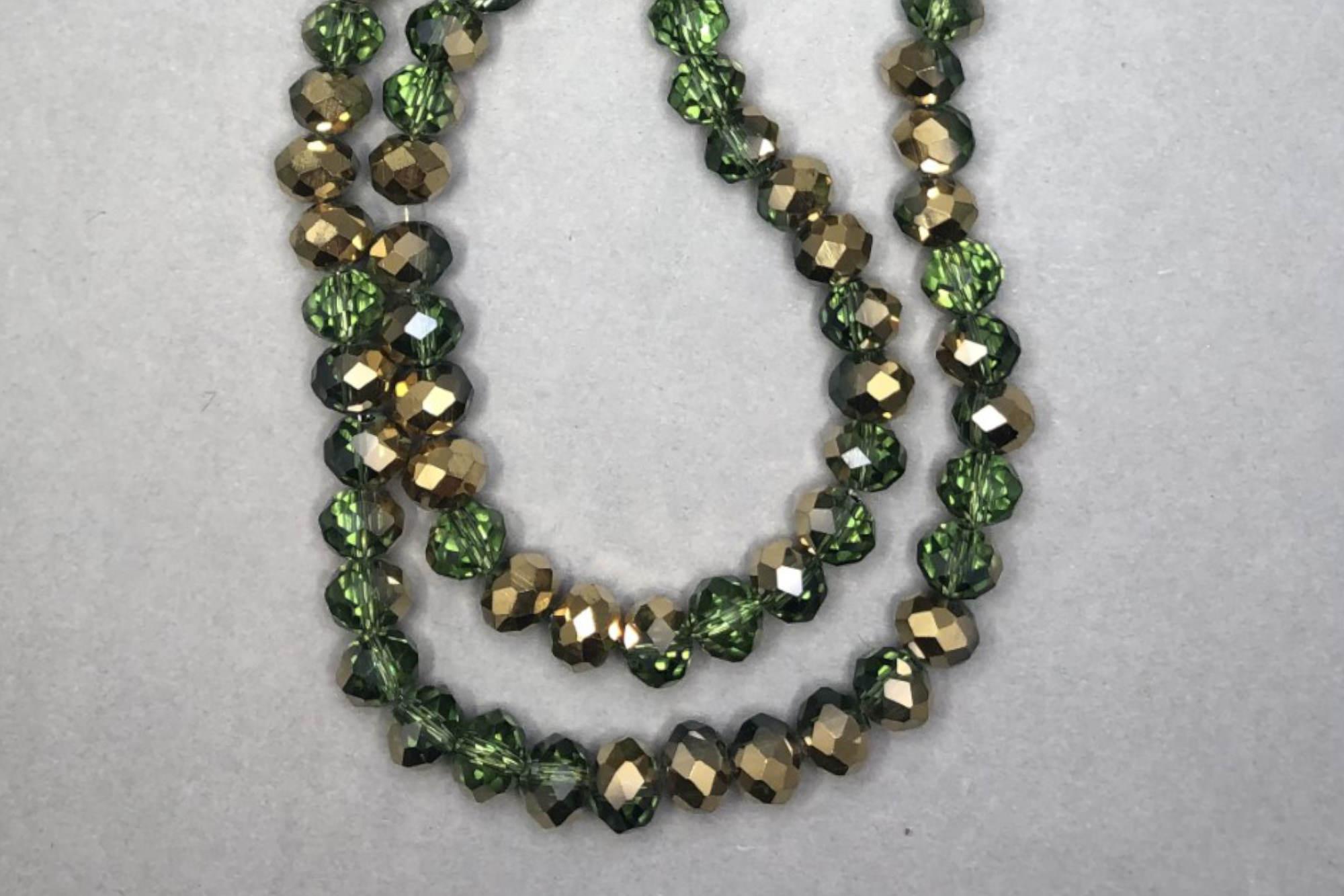 Half Green/Bronze Faceted Glass Beads
