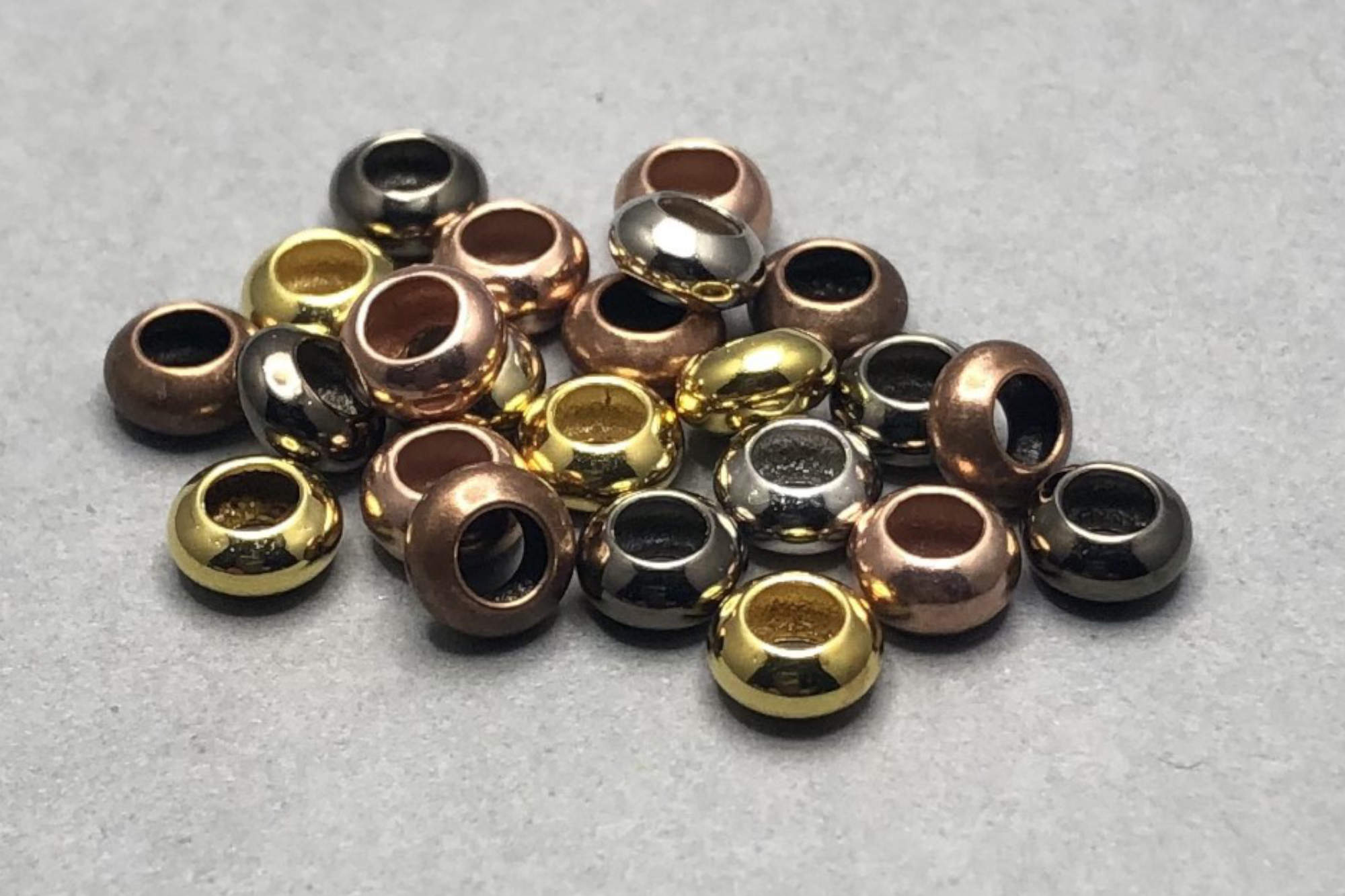 Plated Plain Brass Spacer Bead 6x3mm, large 3mm hole