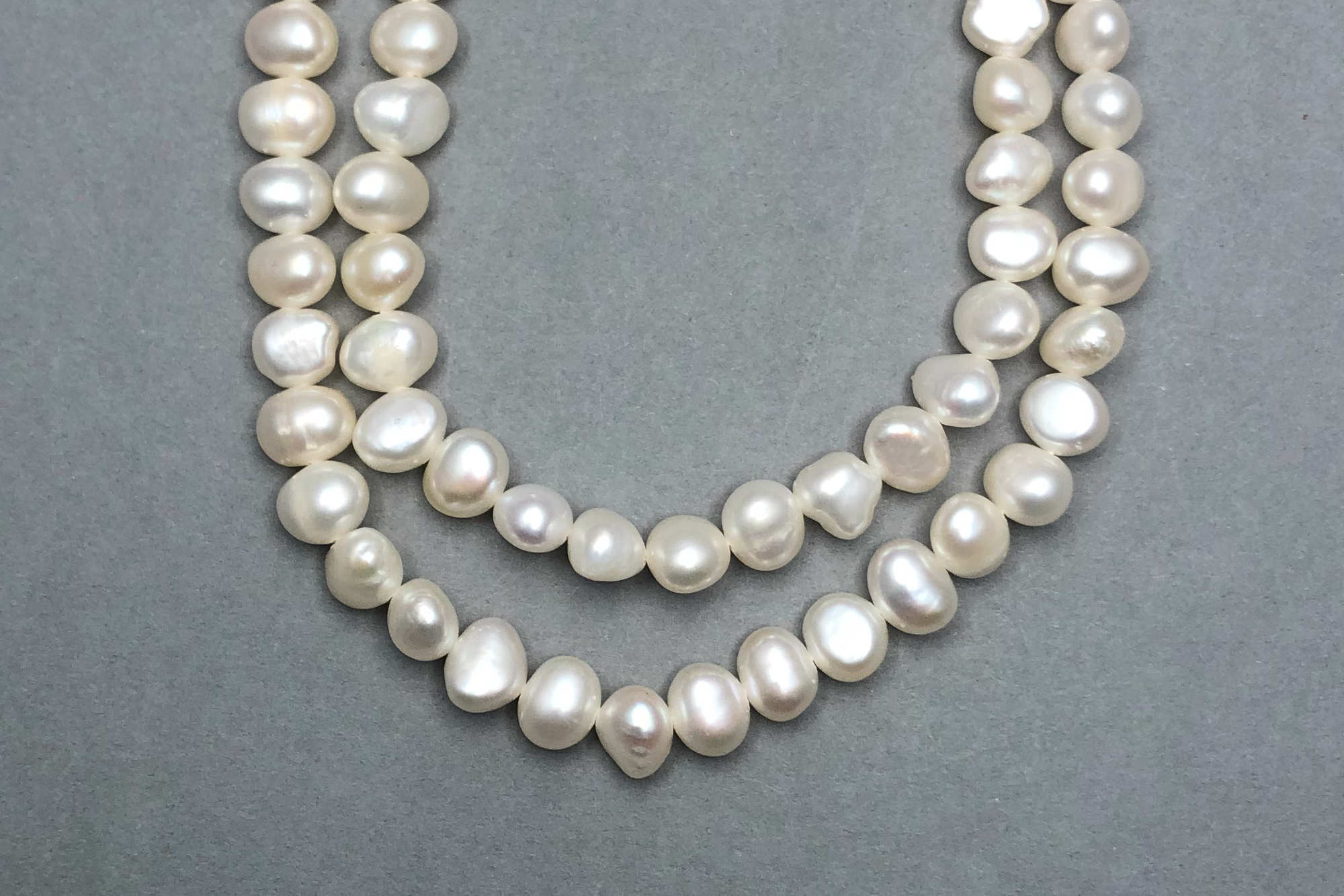 Natural Ivory Fresh Water Pearls, approx 37cm Strand, Flattish