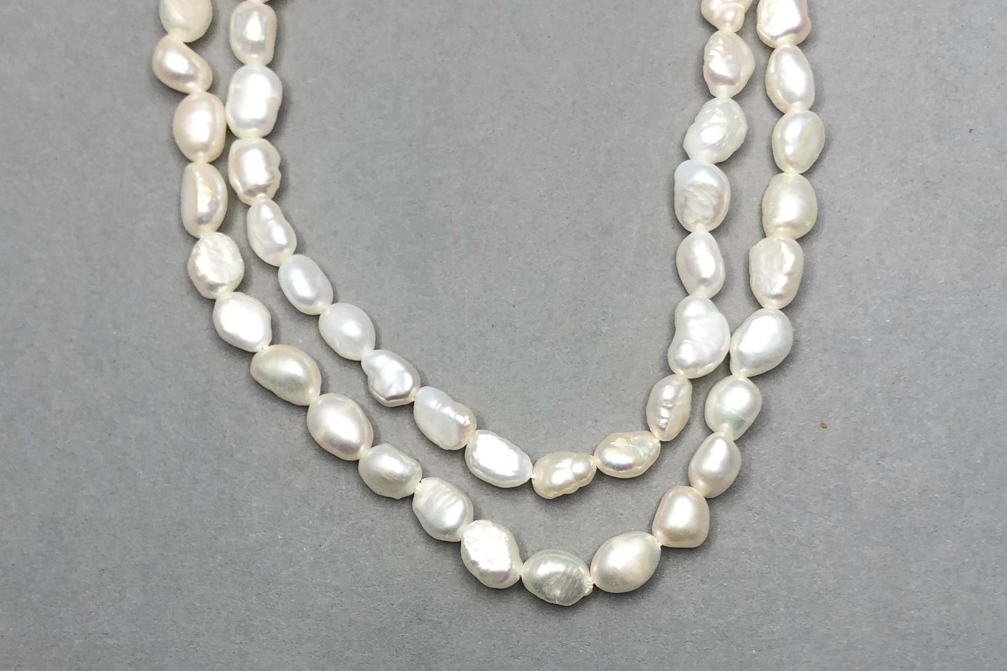 Natural Ivory Fresh Water Pearls, approx 36cm Strand, Flattish