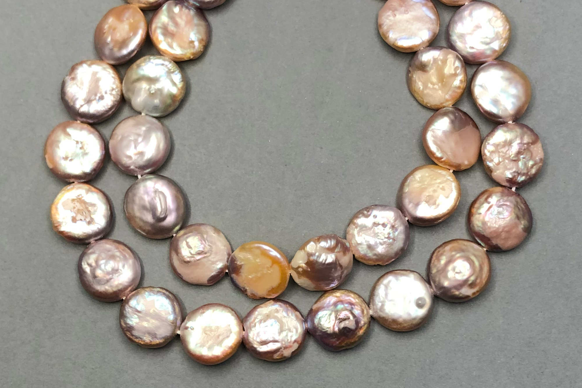 Peach/Pink Dyed Fresh Water Coin Pearl 40cm Strand, approx 12x3mm